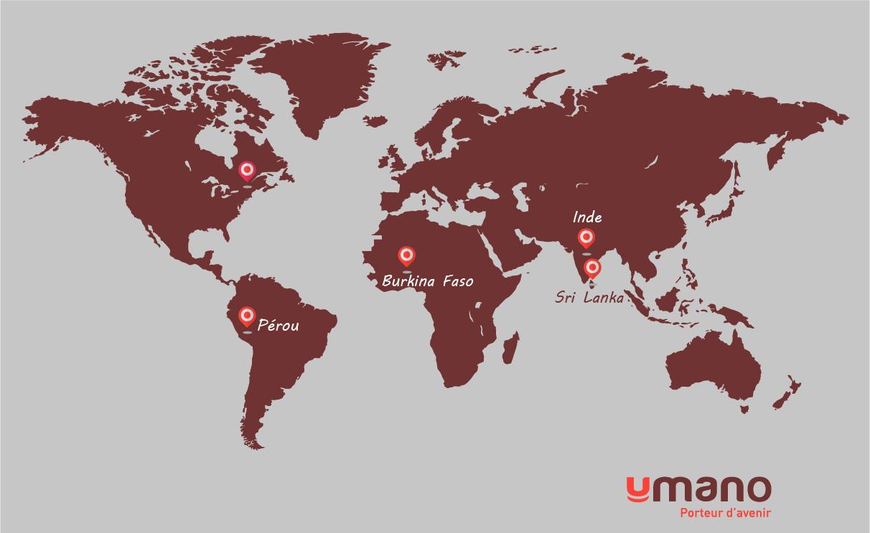 Pays d'où viennent les produits Umano sur une carte du monde