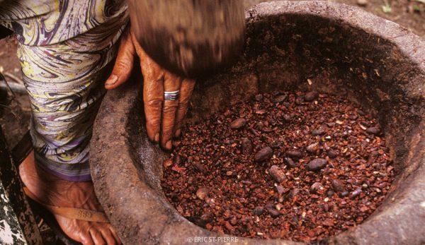 Fèves de cacao dans un mortier